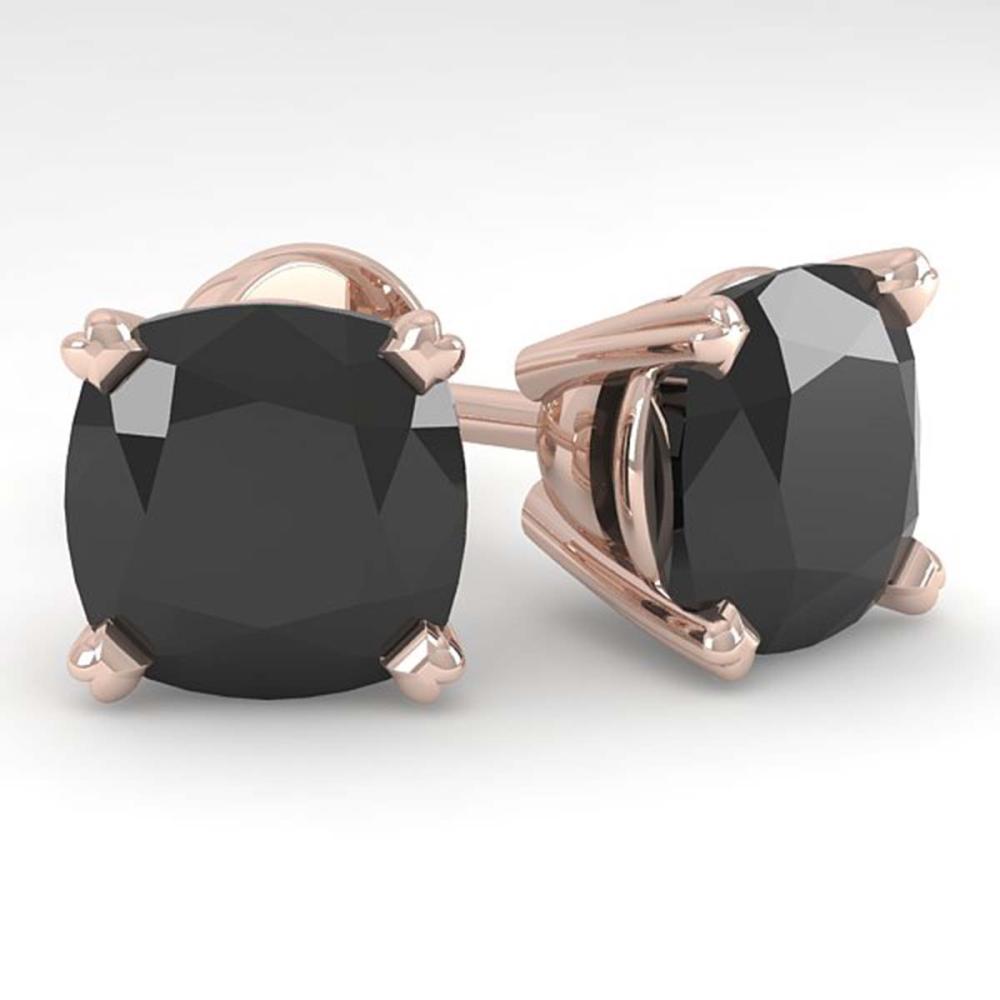 12 ctw Cushion Black Diamond Stud Earrings 18K Rose Gold - REF-222A7V - SKU:32330