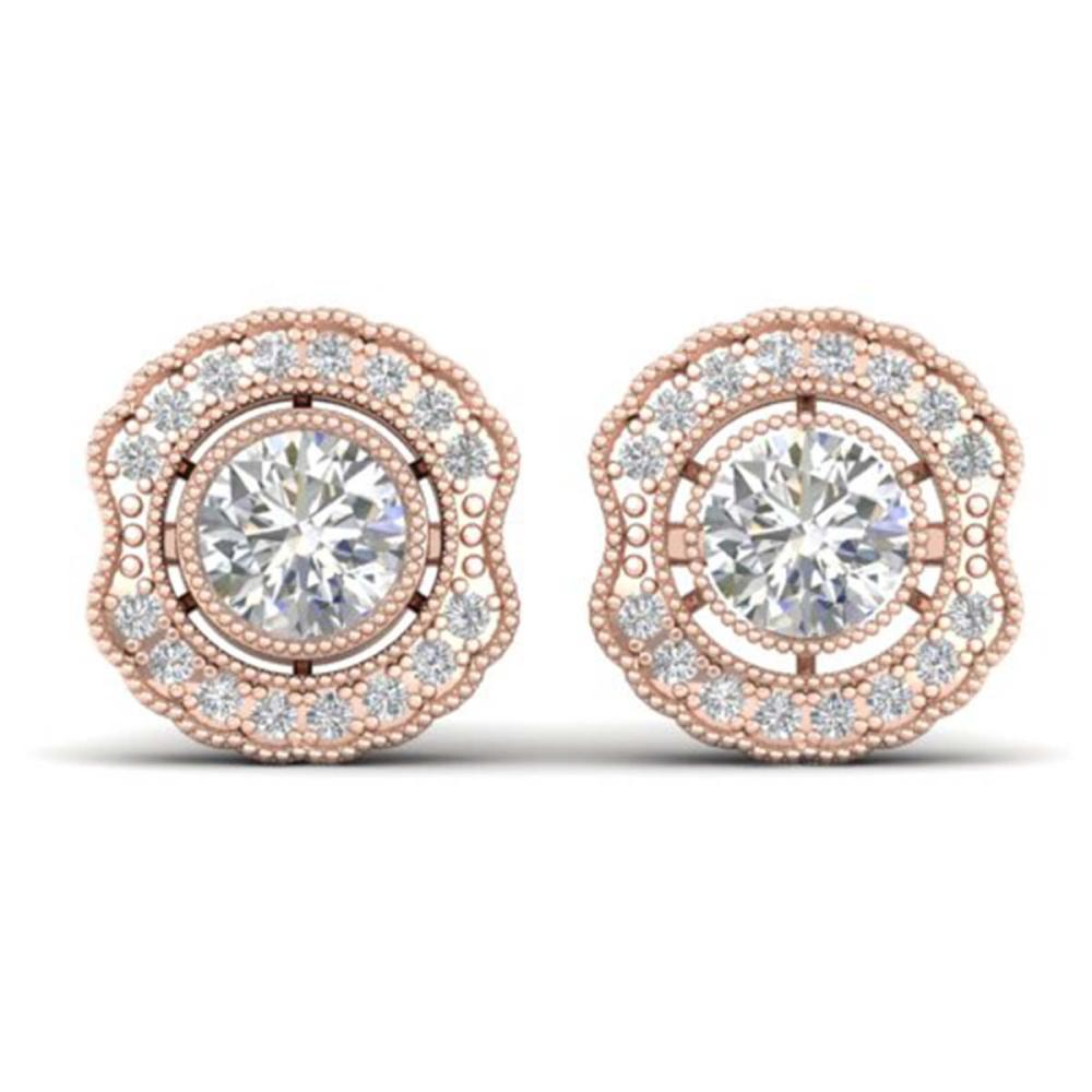 1.50 ctw VS/SI Diamond Art Deco Stud Earrings 14K Rose Gold - REF-245K5W - SKU:30541
