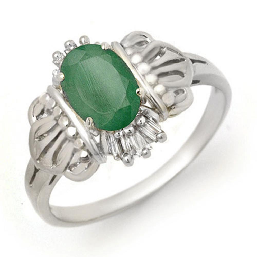 0.81 ctw Emerald & Diamond Ring 18K White Gold - REF-34M5F - SKU:14205