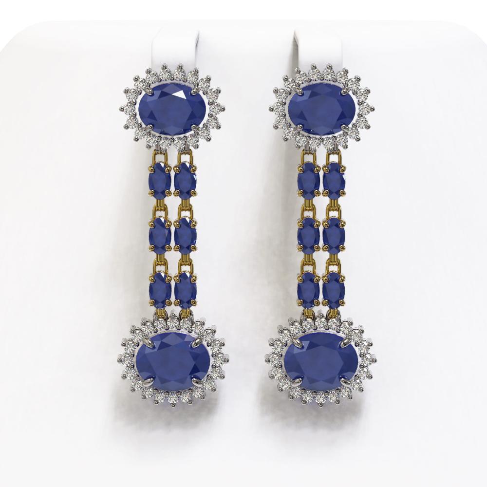 13.28 ctw Sapphire & Diamond Earrings 14K Yellow Gold - REF-202X9R - SKU:44461