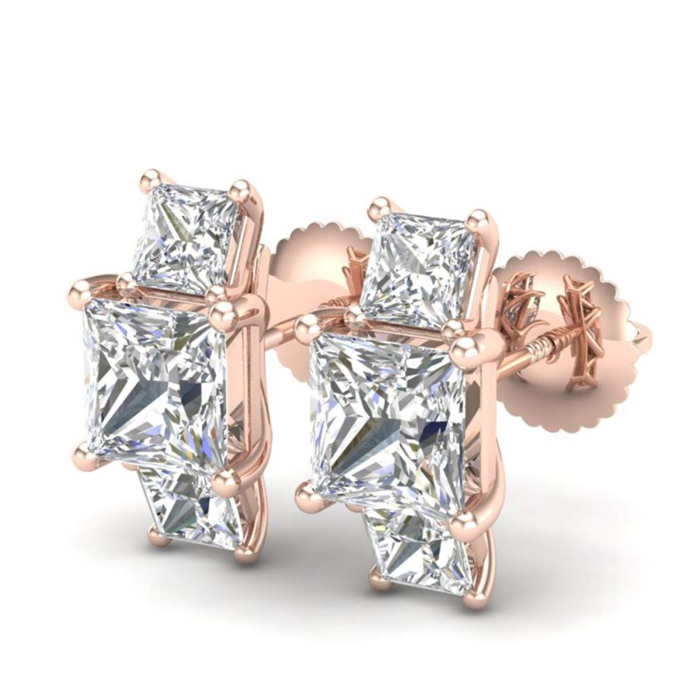 3.08 ctw Princess VS/SI Diamond Art Deco Stud Earrings 18K Rose Gold - REF-668R2K - SKU:37200