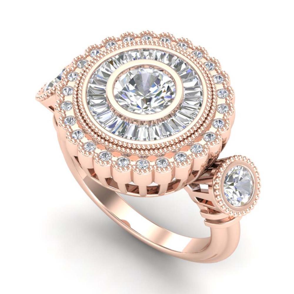 2.62 ctw VS/SI Diamond Solitaire Art Deco 3 Stone Ring 18K Rose Gold - REF-416A4V - SKU:37089