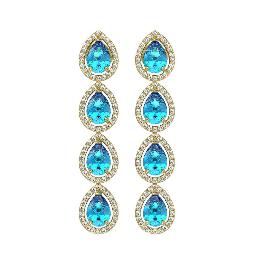7.81 ctw Swiss Topaz & Diamond Halo Earrings 10K Yellow Gold - REF-137N3A - SKU:41173