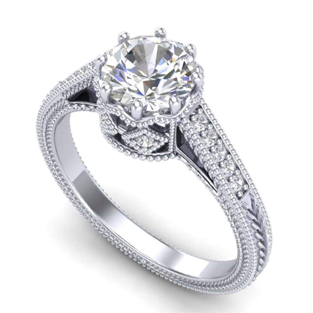 1.25 ctw VS/SI Diamond Art Deco Ring 18K White Gold - REF-400F2N - SKU:36905