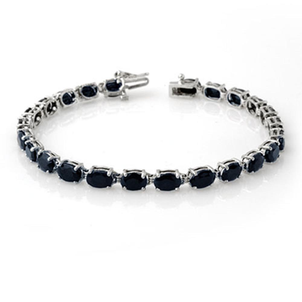 17.80 ctw Blue Sapphire Bracelet 10K White Gold - REF-71F8N - SKU:14041