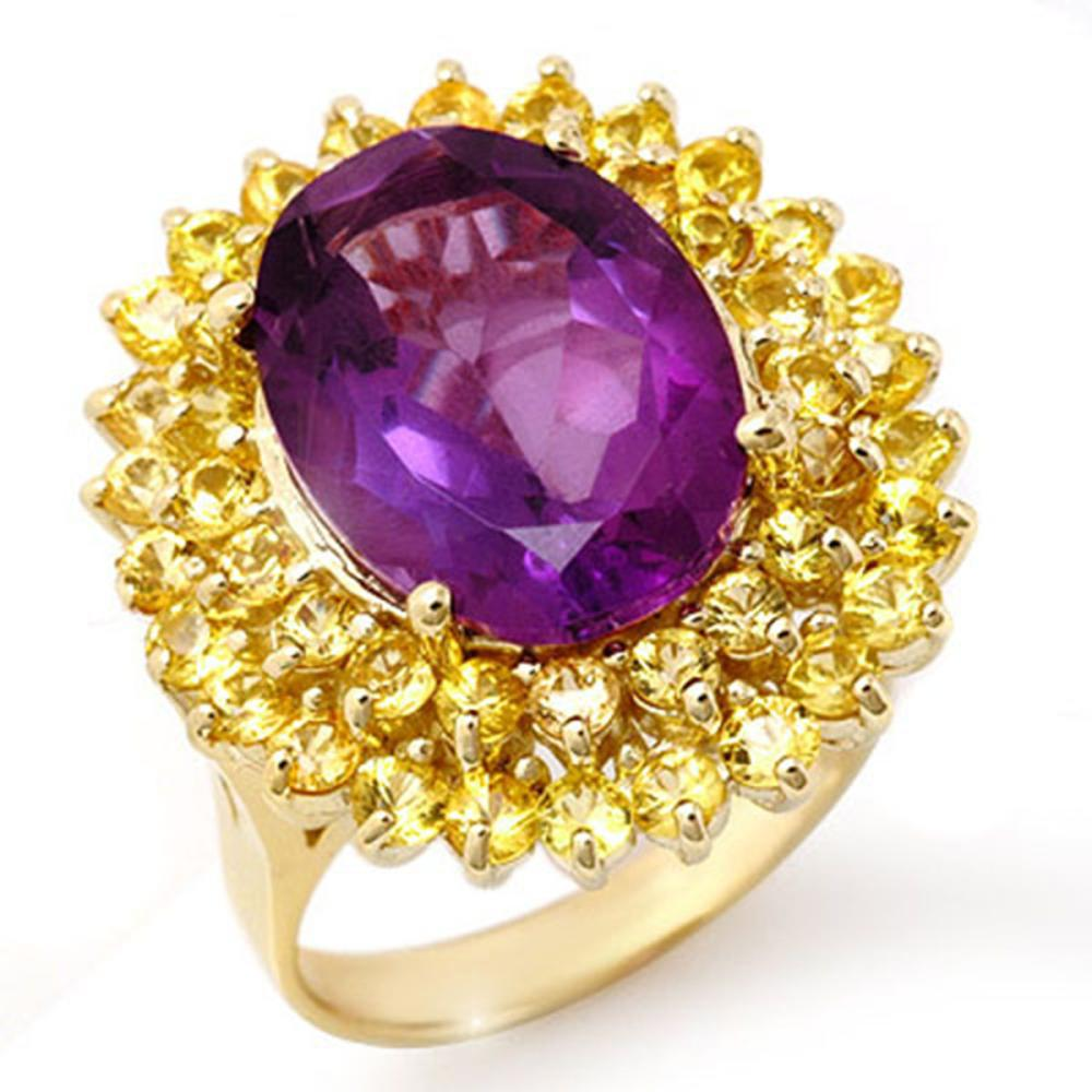10.25 ctw Yellow Sapphire & Amethyst Ring 10K Yellow Gold - REF-67N6A - SKU:11737