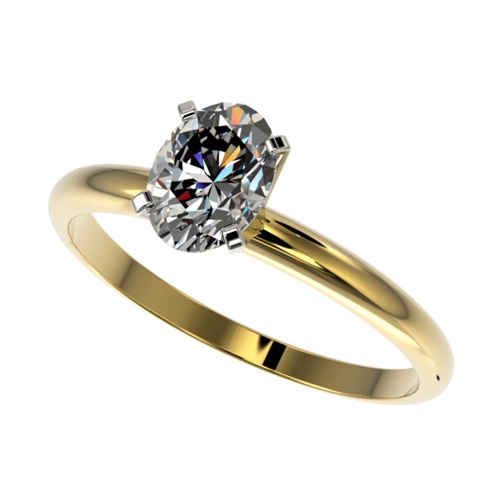 1 ctw VS/SI Oval Diamond Solitaire Ring 10K Yellow Gold - REF-297W2H - SKU:32896