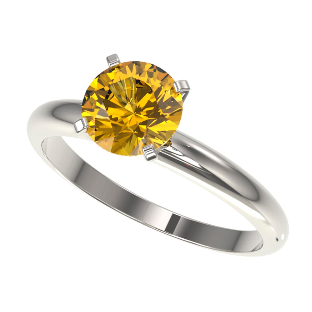 1.50 ctw Intense Yellow Diamond Solitaire Ring 10K White Gold - REF-285R2K - SKU:32930
