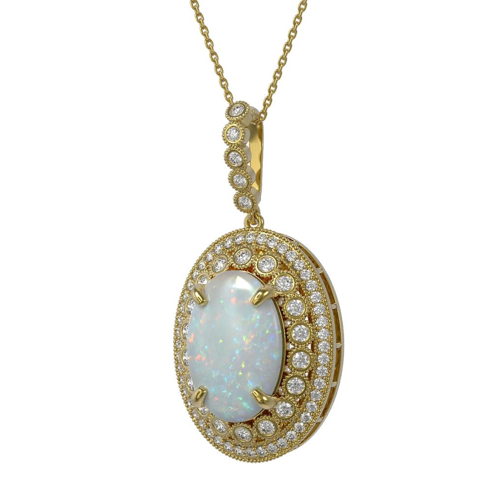 13.42 ctw Opal & Diamond Necklace 14K Yellow Gold - REF-373F3N - SKU:43909