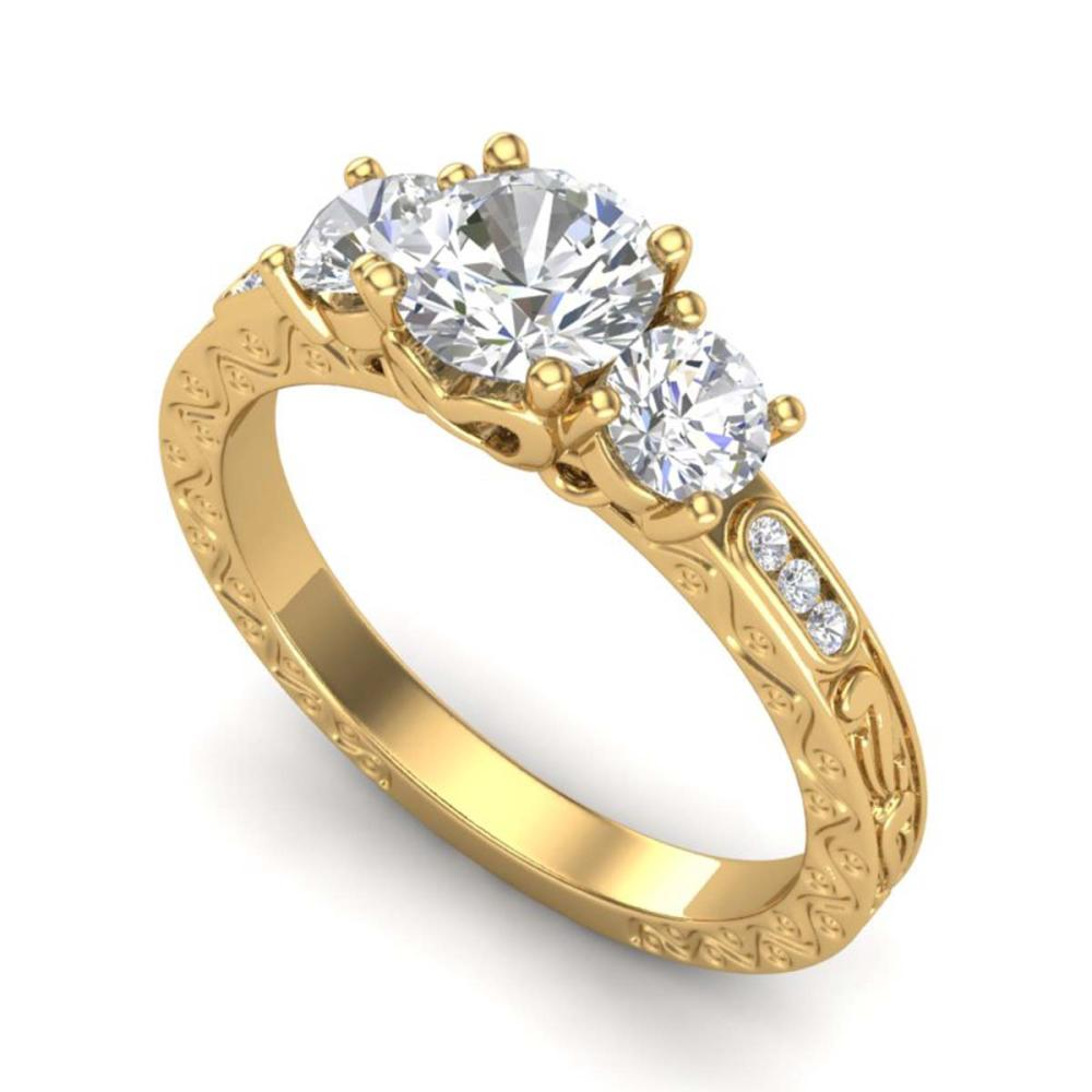 1.41 ctw VS/SI Diamond Solitaire Art Deco 3 Stone Ring 18K Yellow Gold - REF-263N6A - SKU:37009