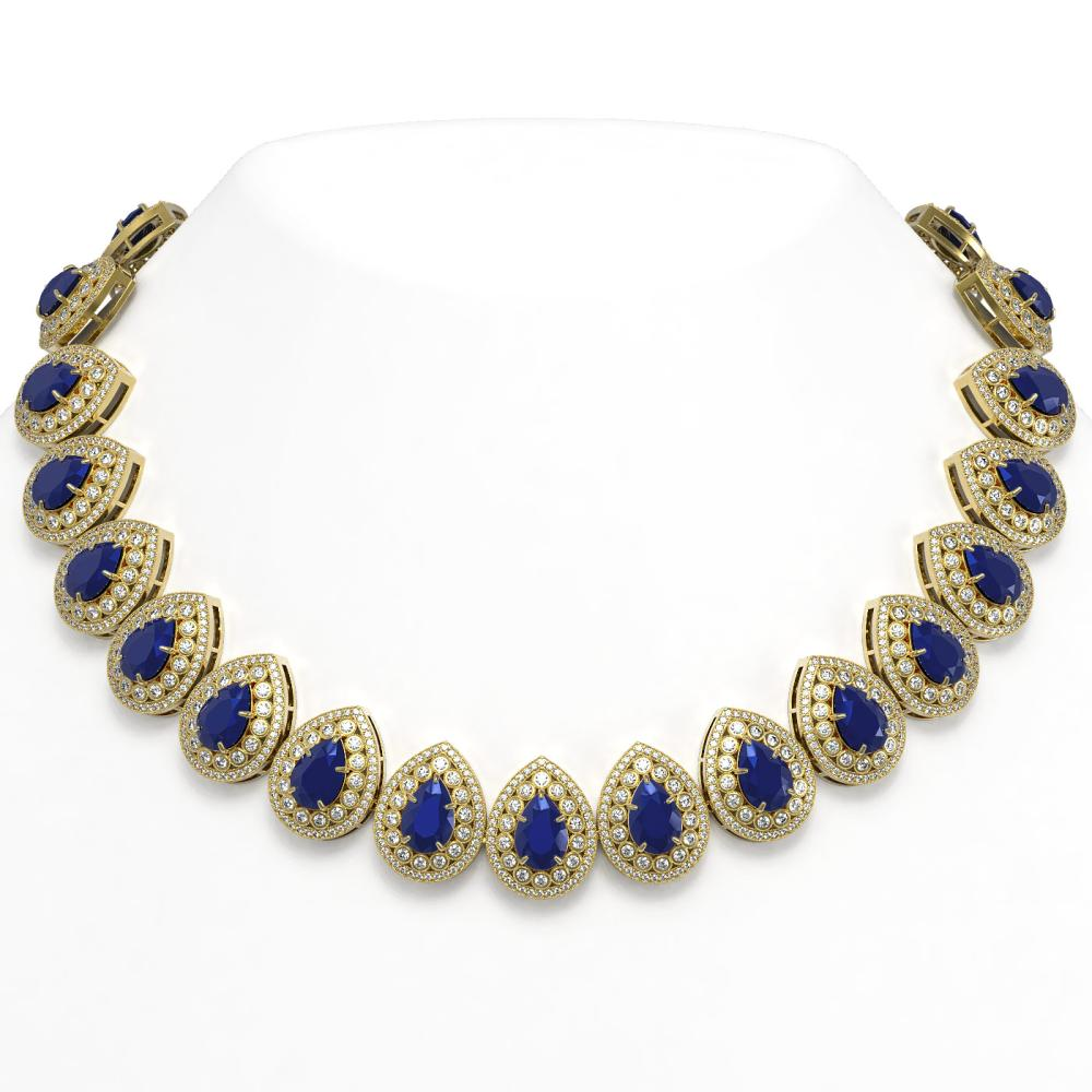 121.42 ctw Sapphire & Diamond Necklace 14K Yellow Gold - REF-3331V5Y - SKU:43234