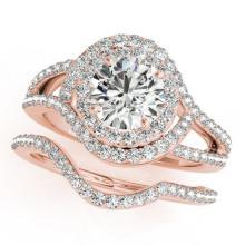 2.22 CTW Certified VS/SI Diamond 2pc Wedding Set Solitaire Halo 14K Gold - REF#-433T3K-31266