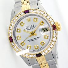 Rolex Ladies Two Tone 14K Gold/SS, Diam Dial & Diam/Ruby Bezel, Saph Crystal - REF-363H3W