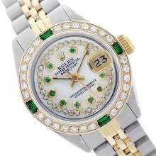 Rolex Men's Two Tone 14K Gold/SS, QuickSet, Diam/Emerald Dial & Diam/Emerald Bezel - REF-490W9K