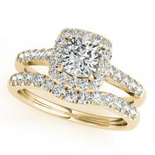 1.74 CTW Certified VS/SI Cushion Diamond 2pc Set Solitaire Halo 14K Gold - REF#-464W4G-31339