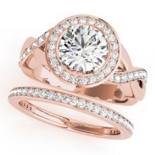 2.34 CTW Certified VS/SI Diamond 2pc Wedding Set Solitaire Halo 14K Gold - REF#-545H5M-30646