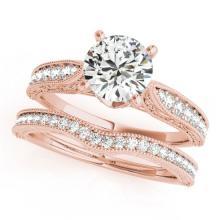 1.7 CTW Certified VS/SI Diamond Solitaire 2pc Wedding Set 14K Gold - REF#-432H2M-31509