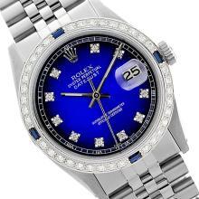 Rolex Men's Stainless Steel, QuickSet, Diam Dial & Diam/Sapphire Bezel - REF-441W8K