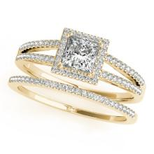 1.01 CTW Certified VS/SI Princess Diamond 2pc Set Solitaire Halo 14K Gold - REF#-148G9N-31360