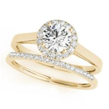 1.16 CTW Certified VS/SI Diamond 2pc Wedding Set Solitaire Halo 14K Gold - REF#-214N2A-30989