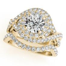 1.76 CTW Certified VS/SI Diamond 2pc Wedding Set Solitaire Halo 14K Gold - REF#-251V3Y-31033