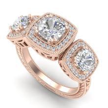 2.75 CTW CUSHION CUT VS/SI DIAMOND ART DECO 3 STONE RING 18K18K Gold - REF#-609M3F-37041