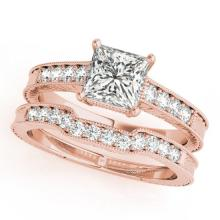 1.18 CTW Certified VS/SI Princess Diamond Solitaire 2pc Set  Gold - REF#-240R5H-31419