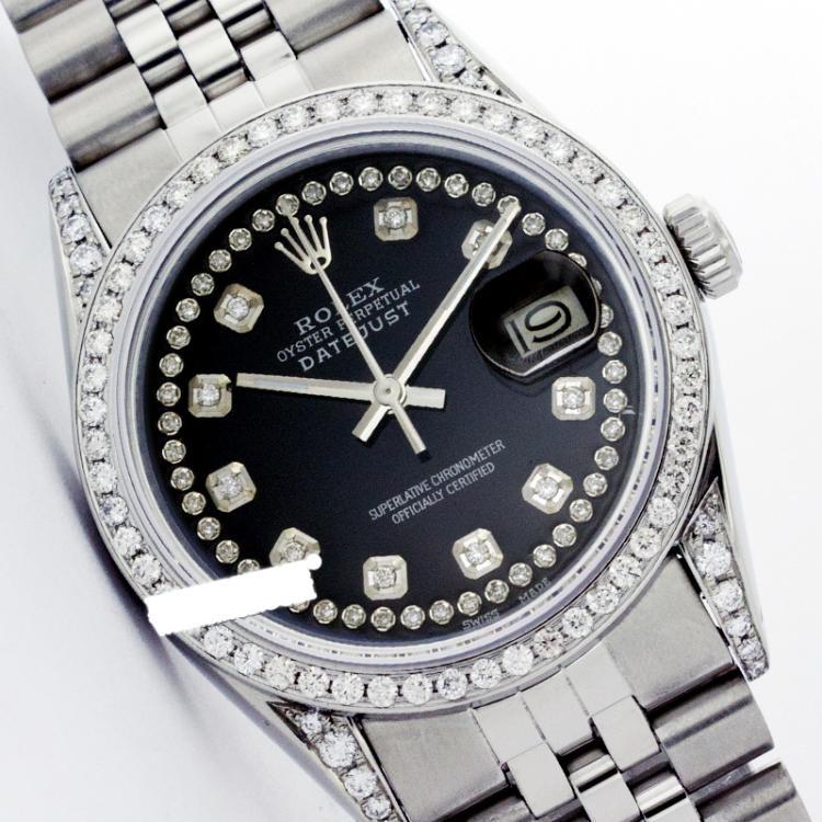 Rolex Men's Stainless Steel, QuickSet, Diamond Dial & Diamond Bezel - REF-501Y8X