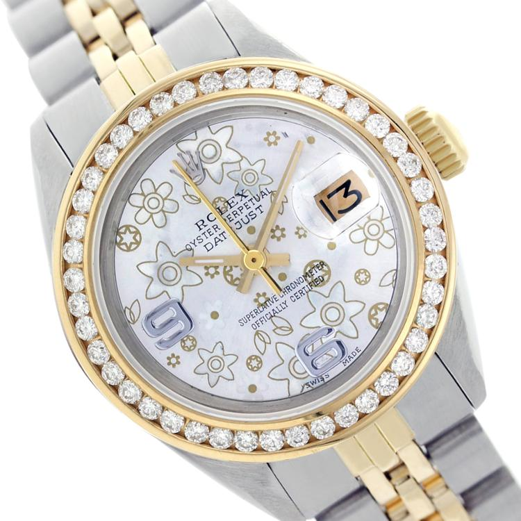 Rolex Men's Two Tone 14K Gold/SS, QuickSet, Arabic Dial with Diamond Bezel - REF-501R8Z