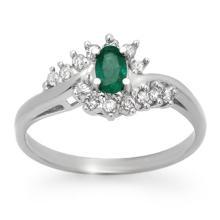 0.45 CTW Emerald & Diamond Ring 18K White Gold - REF-41K3W - 12508