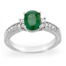 2.14 CTW Emerald & Diamond Ring 14K White Gold - REF-50A9X - 14169