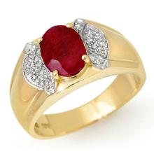2.75 ctw Ruby & Diamond Men's Ring 10K Yellow Gold - REF#-51A3X-13478