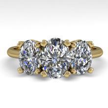 2.0 CTW OVAL CUT CERTIFIED VS/SI DIAMOND 3 STONE RING 14K  Gold - REF#-395W7G-38498