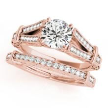 1.16 CTW Certified VS/SI Diamond Solitaire 2pc Wedding Set Antique Gold - REF#-222X2T-31464