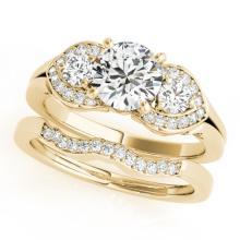 1.8 CTW Certified VS/SI Diamond 3 stone 2pc Wedding Set  14K Gold - REF#-521M3R-32020