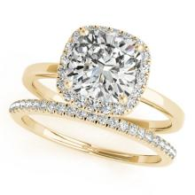 1.1 CTW Certified VS/SI Cushion Diamond 2pc Set Solitaire Halo 14K Gold - REF#-228G9N-31411
