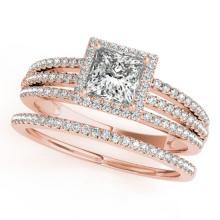 1.05 CTW Certified VS/SI Princess Diamond 2pc Set Solitaire Halo 14K Gold - REF#-161M3R-31383