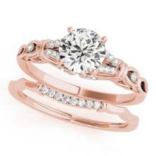 1 CTW Certified VS/SI Diamond Solitaire 2pc Wedding Set  14K Gold - REF#-187W5G-31896