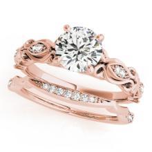 0.71 CTW Certified VS/SI Diamond Solitaire 2pc Wedding Set Antique Gold - REF#-133F5V-31452