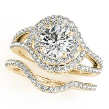 2.22 CTW Certified VS/SI Diamond 2pc Wedding Set Solitaire Halo 14K Gold - REF#-433Y3M-31267