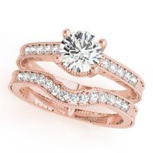 0.45 CTW Certified VS/SI Diamond Solitaire 2pc Wedding Set Antique Gold - REF#-94G2N-31530
