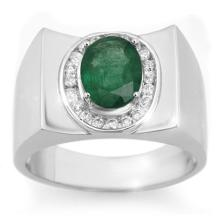 2.33 ctw Emerald & Diamond Men's Ring 10K White Gold - REF#-58F5V-14476