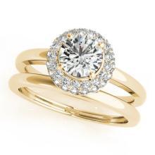 1 CTW Certified VS/SI Diamond 2pc Wedding Set Solitaire Halo 14K Gold - REF#-184V9Y-30920