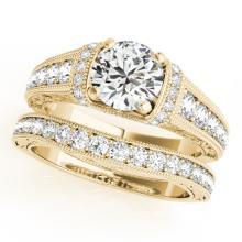 1.61 CTW Certified VS/SI Diamond Solitaire 2pc Wedding Set Antique Gold - REF#-238V2Y-31549