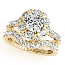 2.22 CTW Certified VS/SI Diamond 2pc Wedding Set Solitaire Halo 14K Gold - REF#-268V2Y-31069