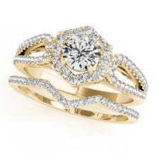1.07 CTW Certified VS/SI Diamond 2pc Wedding Set Solitaire Halo 14K Gold - REF#-142M2R-31150