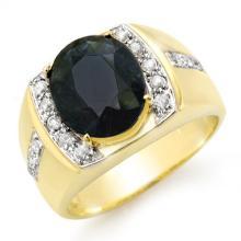 6.33 ctw Blue Sapphire & Diamond Men's Ring 10K Yellow Gold - REF#-76M2R-14484