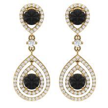 3.62 CTW Certified Black VS Diamond Earring 18K Gold - REF#-190A9X-39113