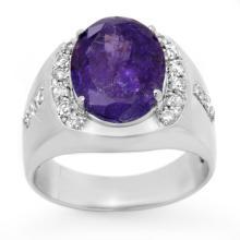 7.33 ctw Tanzanite & Diamond Men's Ring 10K White Gold - REF#-251F8V-13418