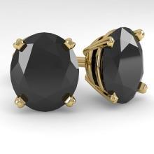 18.0 CTW OVAL BLACK CERTIFIED DIAMOND STUD EARRING 14K  Gold - REF#-364R5H-38402